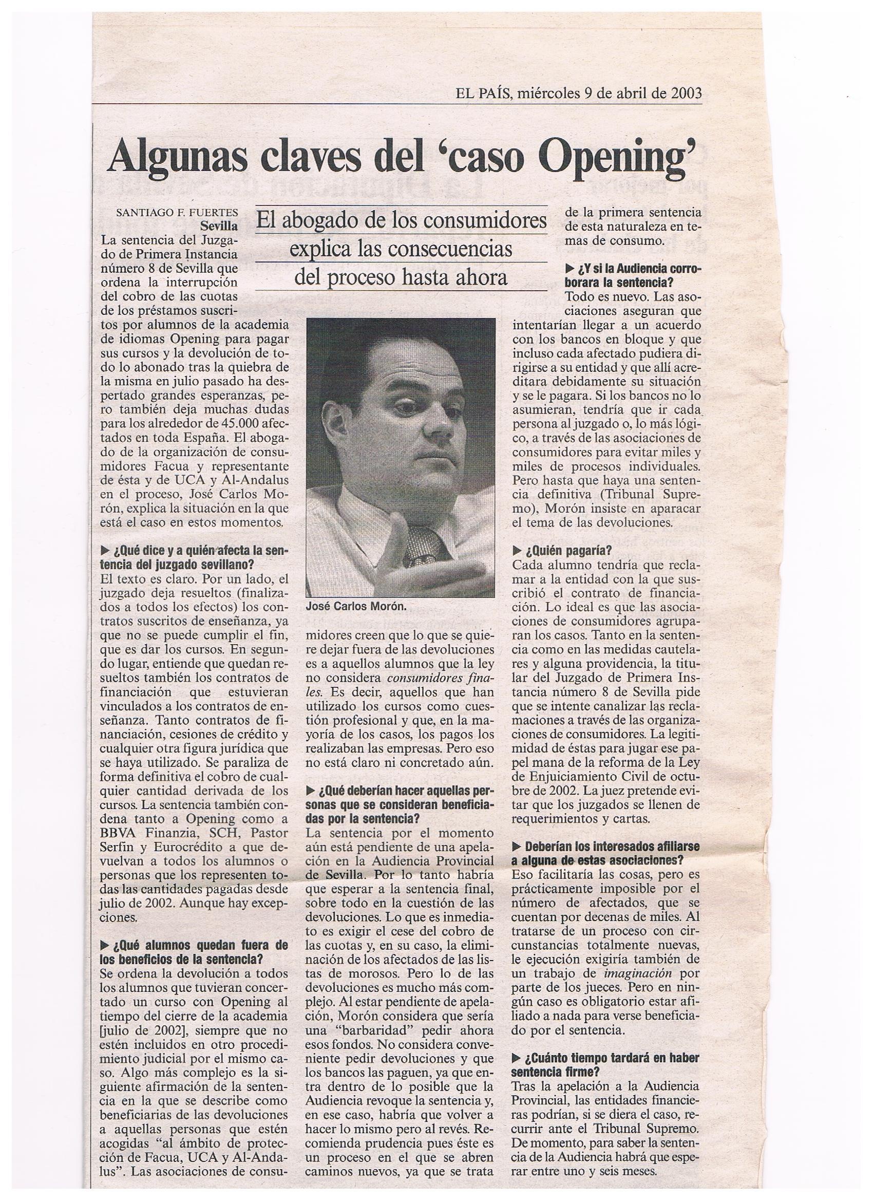 EL PAIS 9-4-2003
